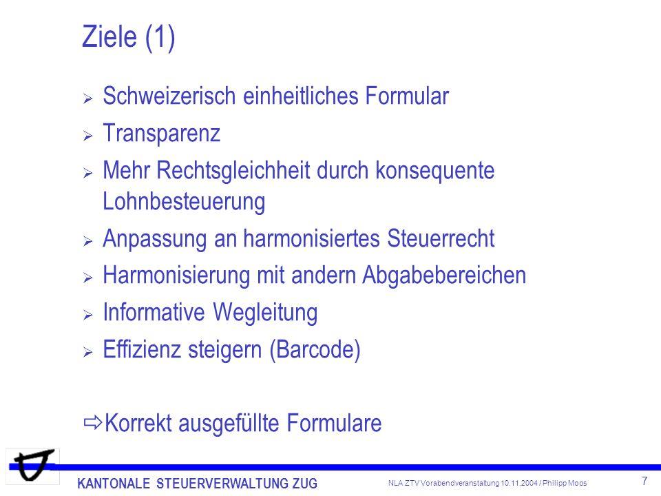 Ziele (1) Schweizerisch einheitliches Formular Transparenz