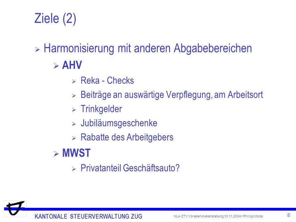 Ziele (2) Harmonisierung mit anderen Abgabebereichen AHV MWST