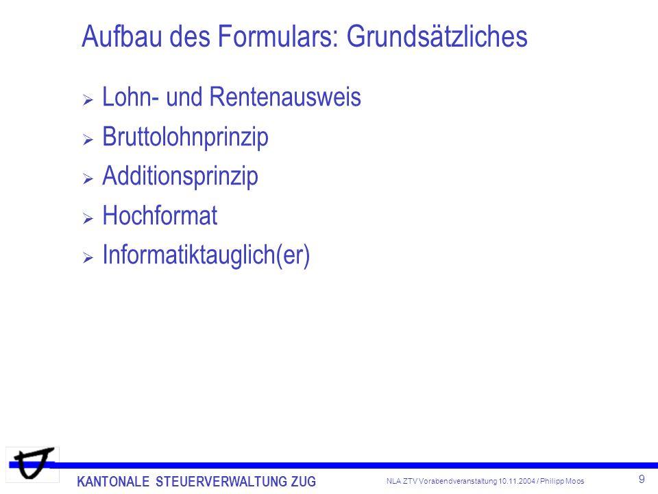 Aufbau des Formulars: Grundsätzliches