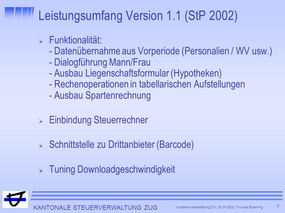 Leistungsumfang Version 1.1 (StP 2002)