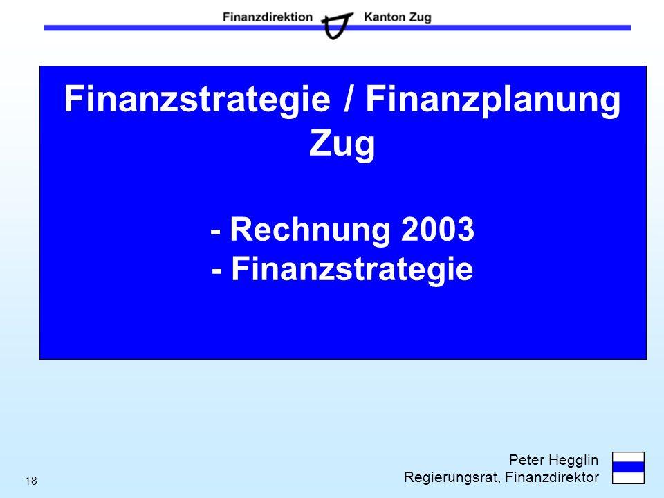 Finanzstrategie / Finanzplanung Zug - Rechnung 2003 - Finanzstrategie