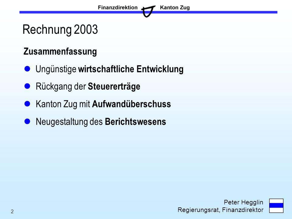 Rechnung 2003 Zusammenfassung Ungünstige wirtschaftliche Entwicklung