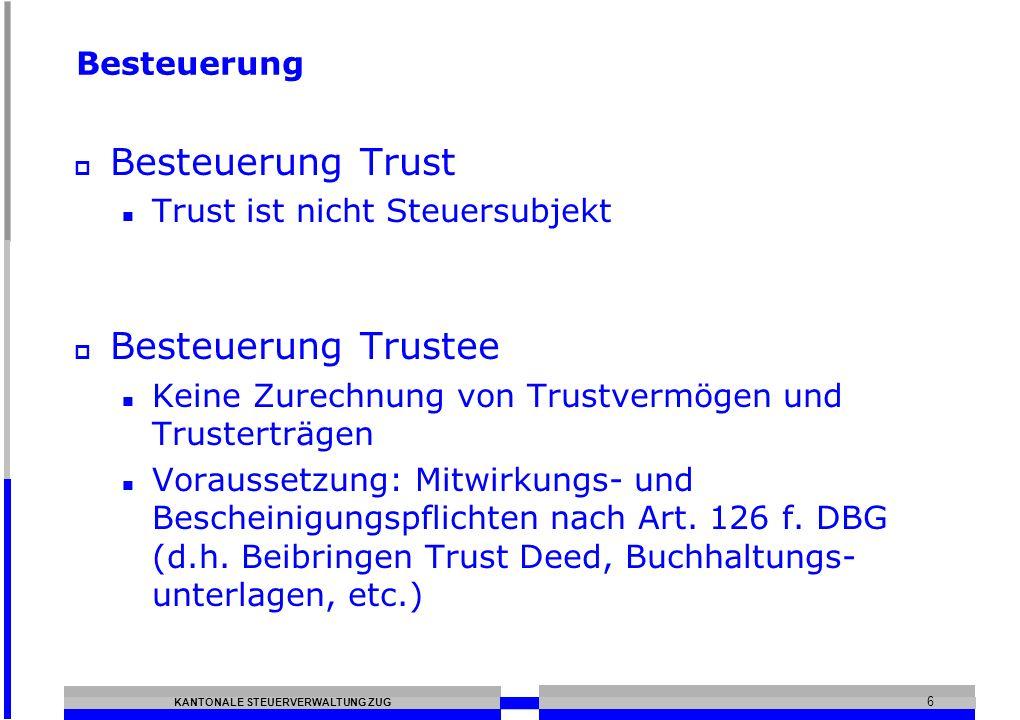 Besteuerung Trust Besteuerung Trustee Besteuerung