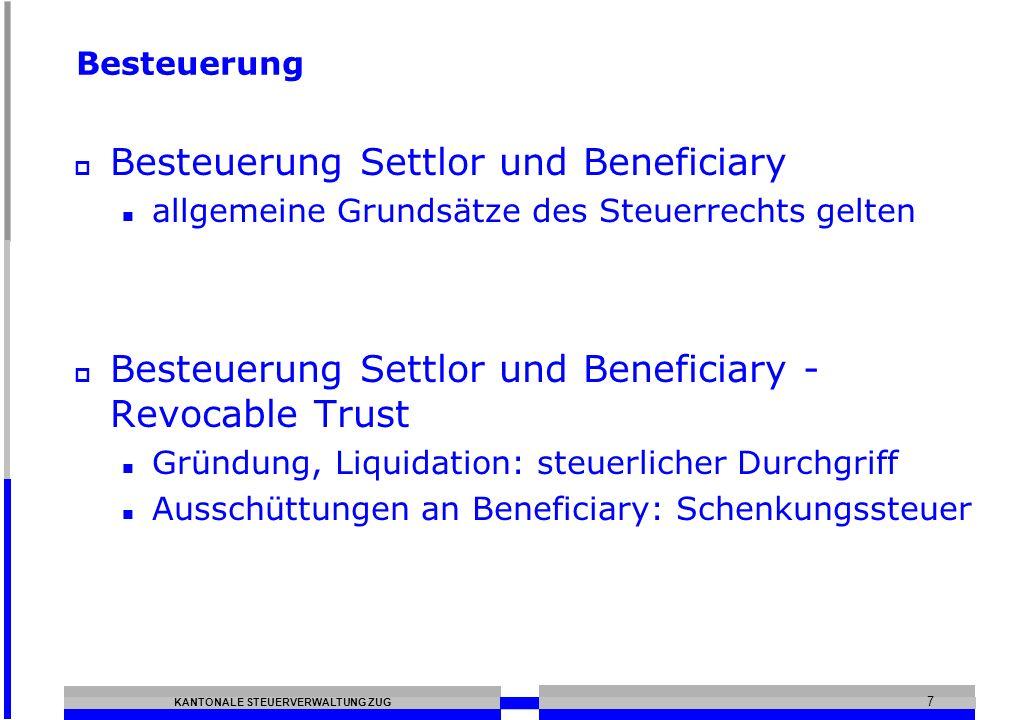 Besteuerung Settlor und Beneficiary