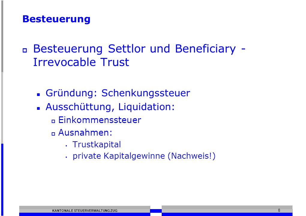 Besteuerung Settlor und Beneficiary - Irrevocable Trust