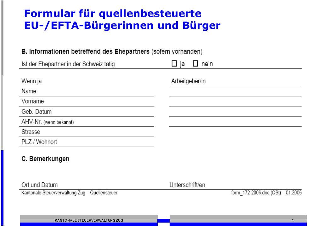 Formular für quellenbesteuerte EU-/EFTA-Bürgerinnen und Bürger