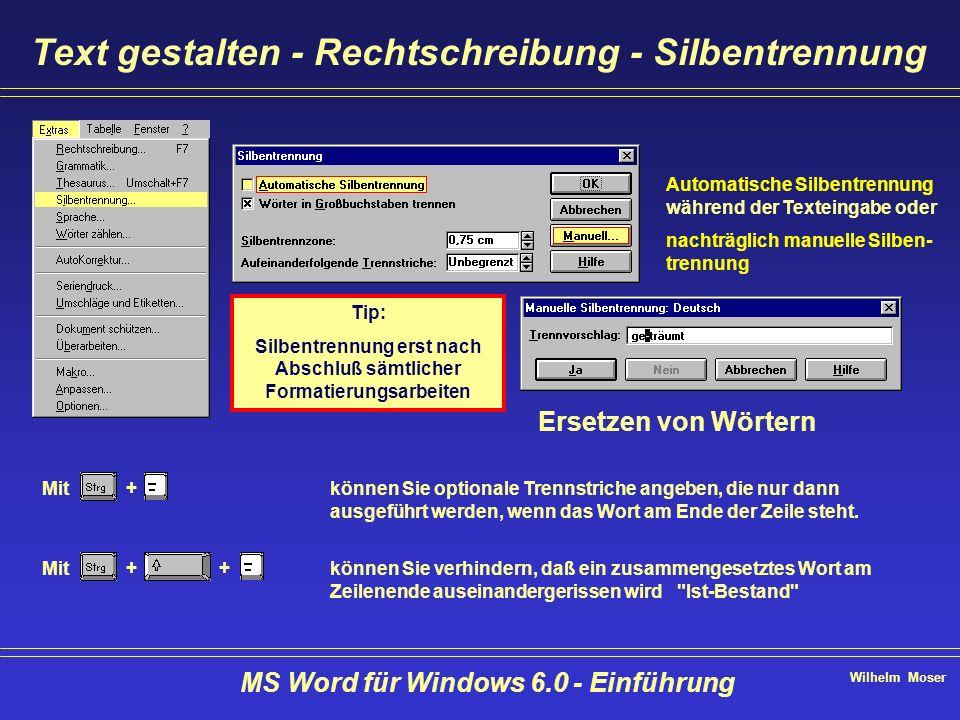 Text gestalten - Rechtschreibung - Silbentrennung