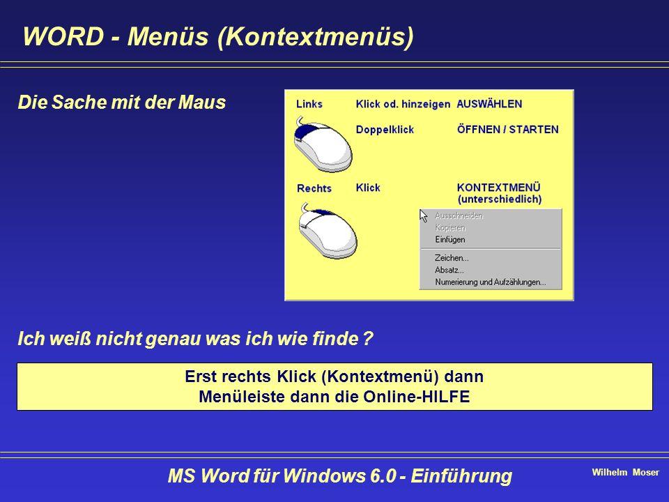 WORD - Menüs (Kontextmenüs)