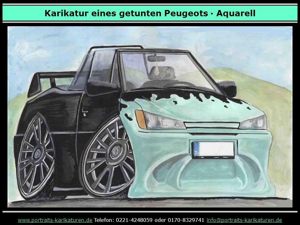 Karikatur eines getunten Peugeots · Aquarell