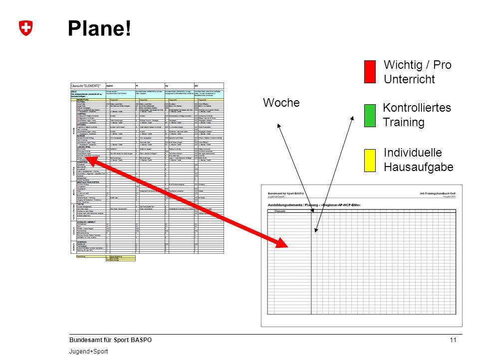 Plane! Wichtig / Pro Unterricht Woche Kontrolliertes Training