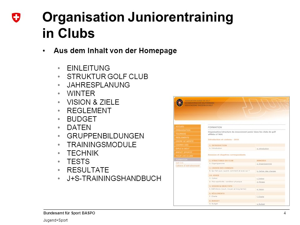 Organisation Juniorentraining in Clubs