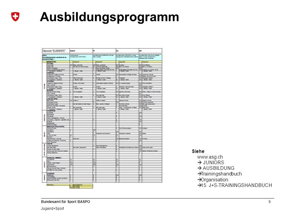 Ausbildungsprogramm Siehe www.asg.ch  JUNIORS  AUSBILDUNG