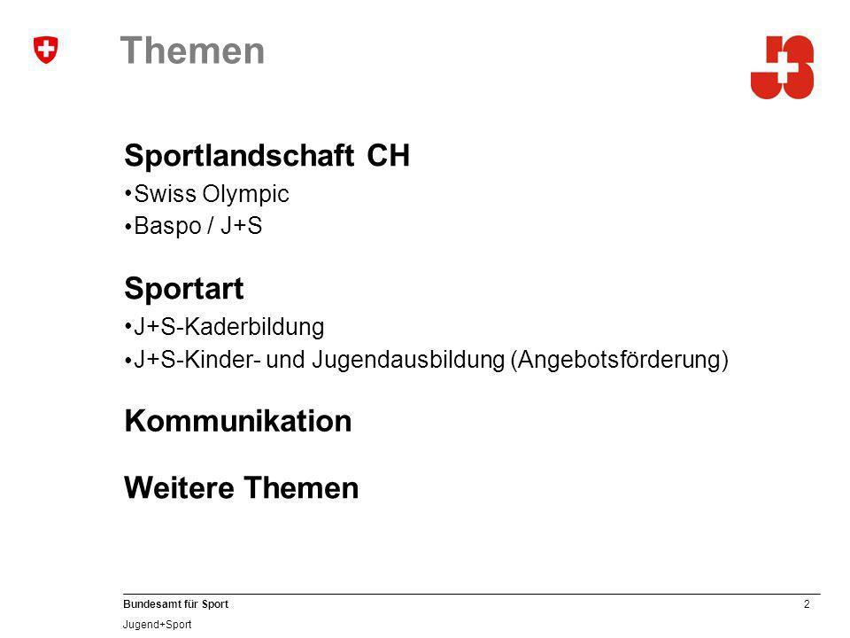 Themen Sportlandschaft CH Sportart Kommunikation Weitere Themen