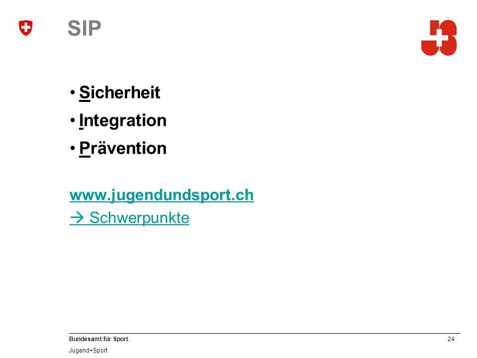 SIP Sicherheit Integration Prävention www.jugendundsport.ch
