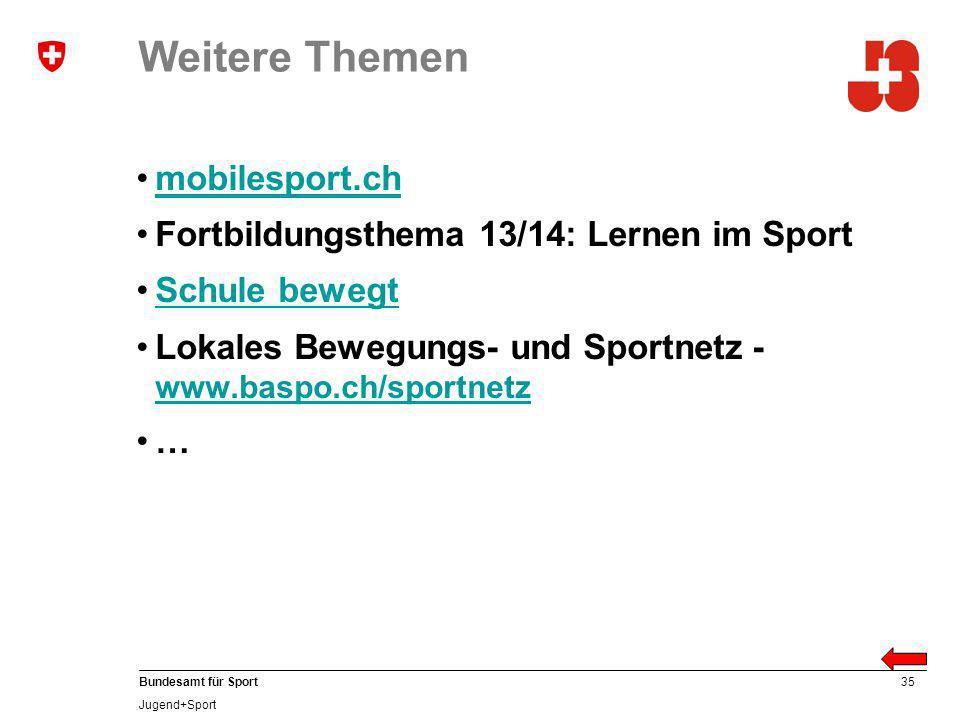 Weitere Themen mobilesport.ch Fortbildungsthema 13/14: Lernen im Sport