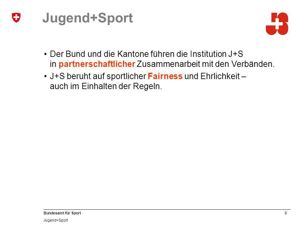 Jugend+Sport Der Bund und die Kantone führen die Institution J+S in partnerschaftlicher Zusammenarbeit mit den Verbänden.