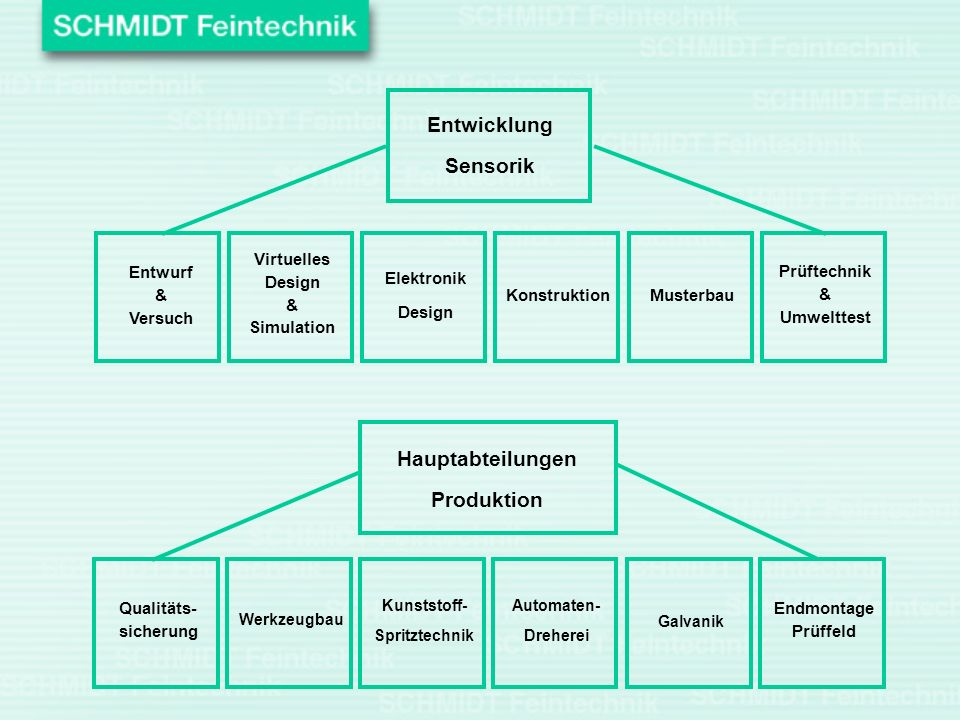 Entwicklung Sensorik Hauptabteilungen Produktion