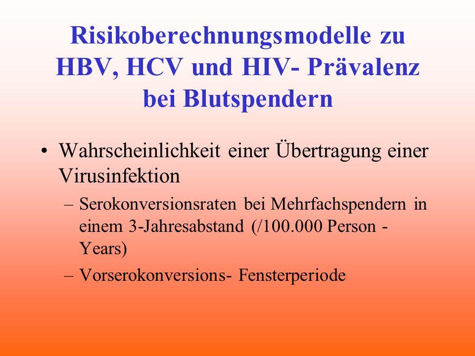 Risikoberechnungsmodelle zu HBV, HCV und HIV- Prävalenz bei Blutspendern