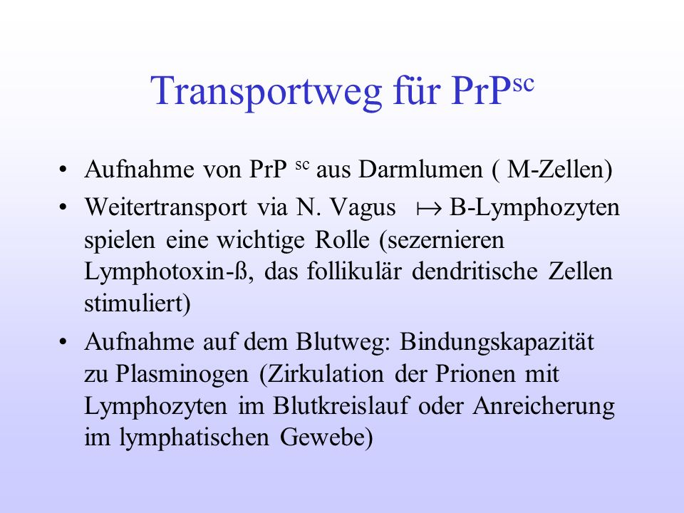Transportweg für PrPsc