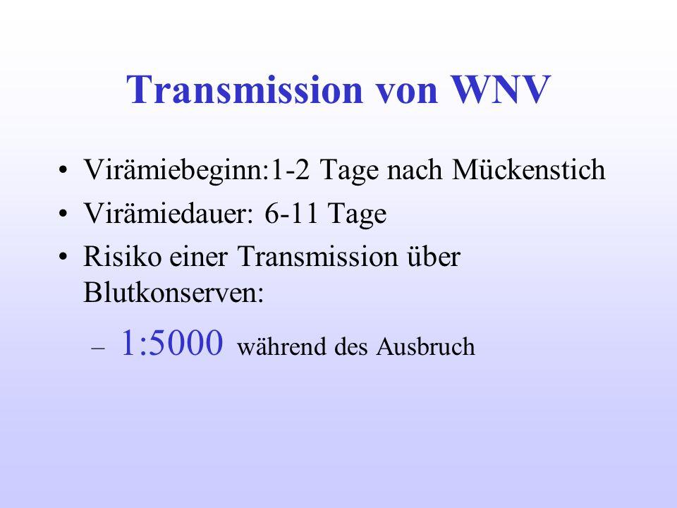 Transmission von WNV Virämiebeginn:1-2 Tage nach Mückenstich