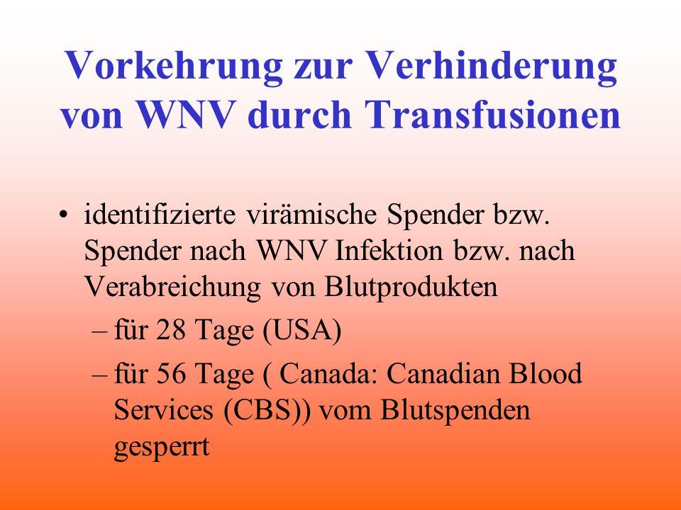 Vorkehrung zur Verhinderung von WNV durch Transfusionen