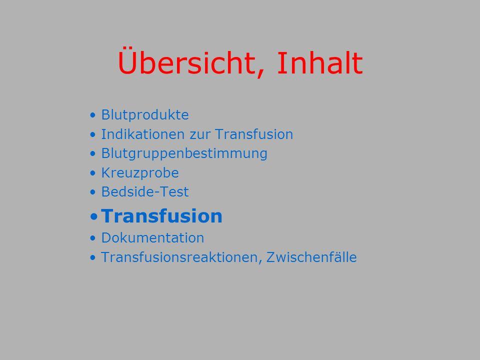Übersicht, Inhalt Transfusion Blutprodukte