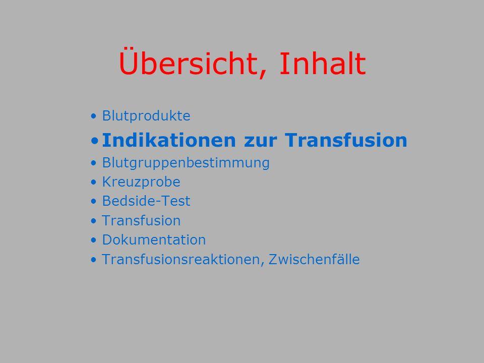 Übersicht, Inhalt Indikationen zur Transfusion Blutprodukte