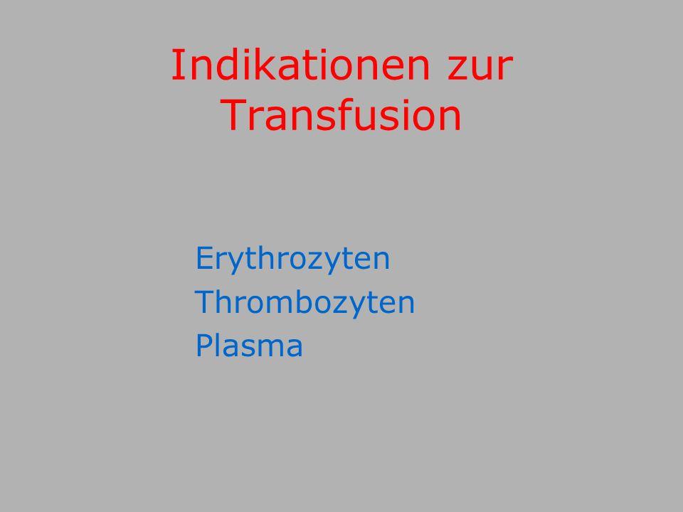 Indikationen zur Transfusion