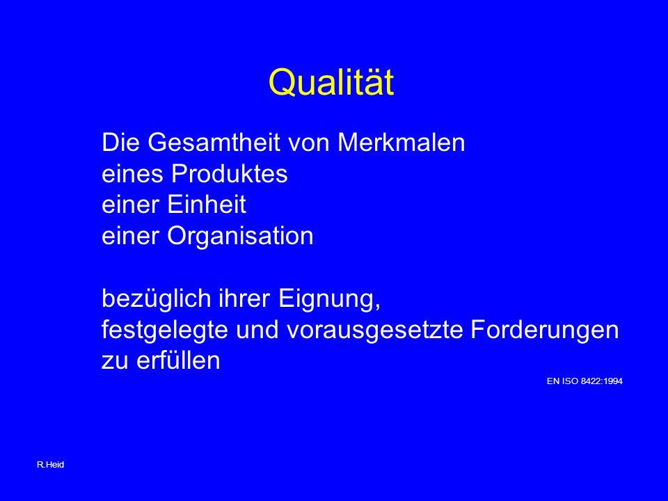 Qualität Die Gesamtheit von Merkmalen eines Produktes einer Einheit