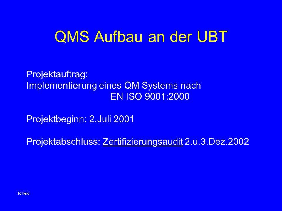 QMS Aufbau an der UBT Projektauftrag: