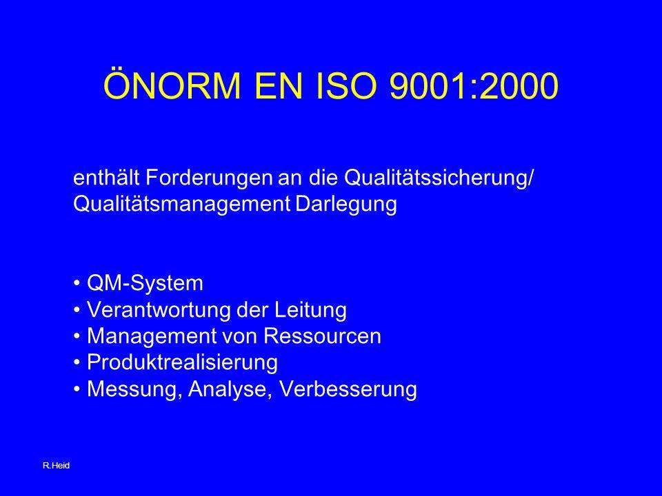 ÖNORM EN ISO 9001:2000 enthält Forderungen an die Qualitätssicherung/
