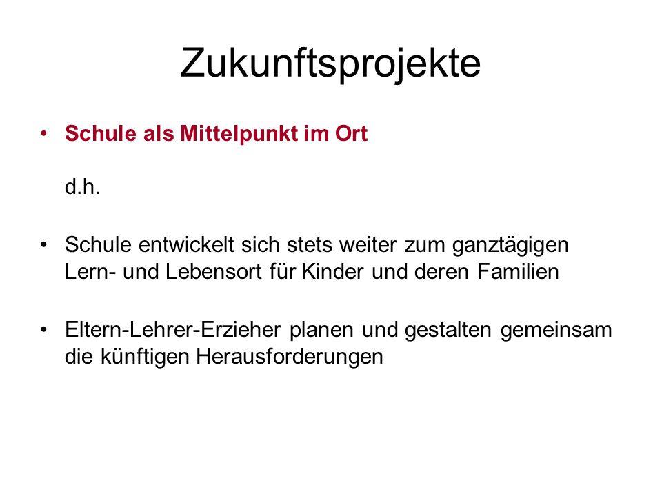 Zukunftsprojekte Schule als Mittelpunkt im Ort d.h.