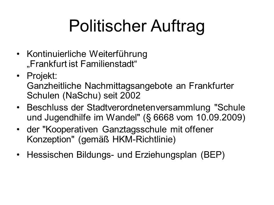"""Politischer Auftrag Kontinuierliche Weiterführung """"Frankfurt ist Familienstadt"""