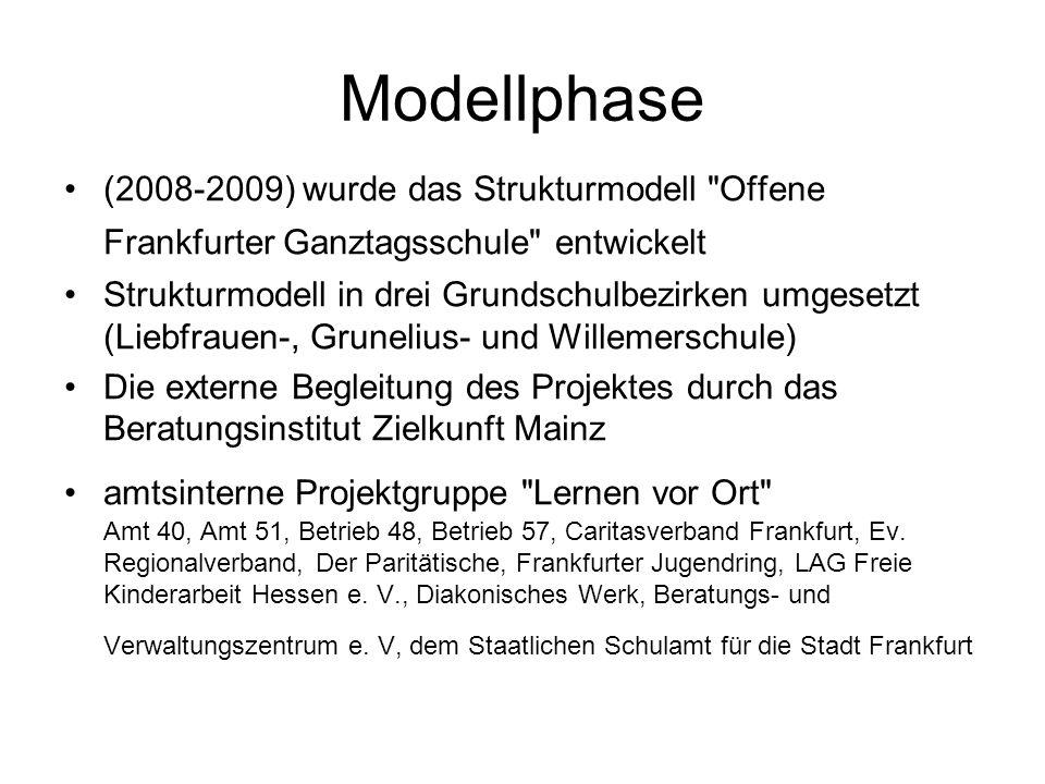 Modellphase (2008-2009) wurde das Strukturmodell Offene Frankfurter Ganztagsschule entwickelt.