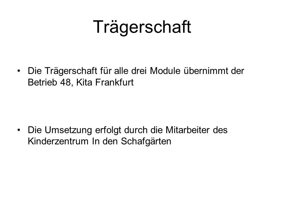 Trägerschaft Die Trägerschaft für alle drei Module übernimmt der Betrieb 48, Kita Frankfurt.