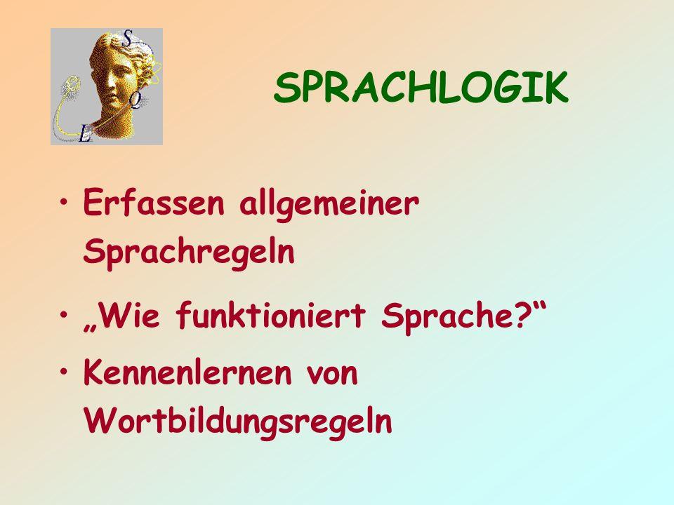 SPRACHLOGIK Erfassen allgemeiner Sprachregeln
