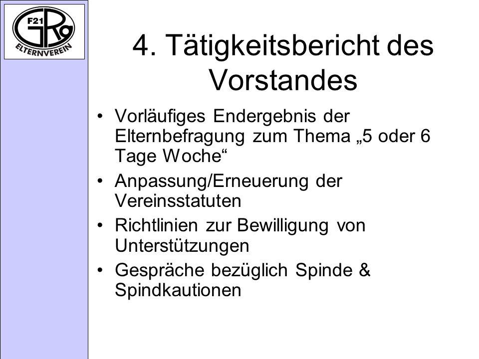 4. Tätigkeitsbericht des Vorstandes