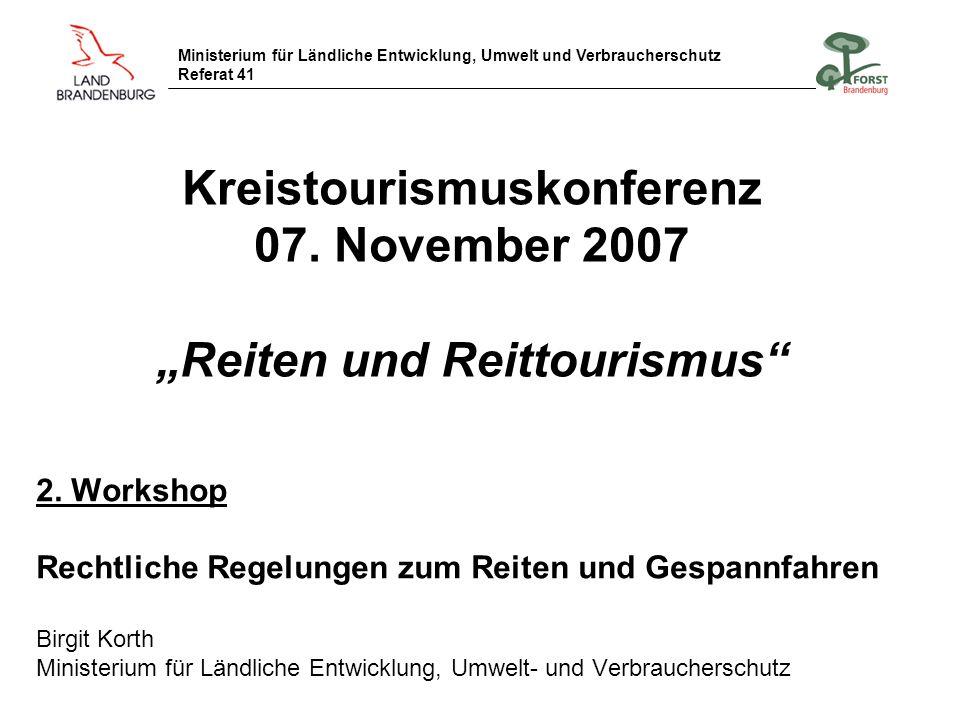 """Kreistourismuskonferenz 07. November 2007 """"Reiten und Reittourismus"""