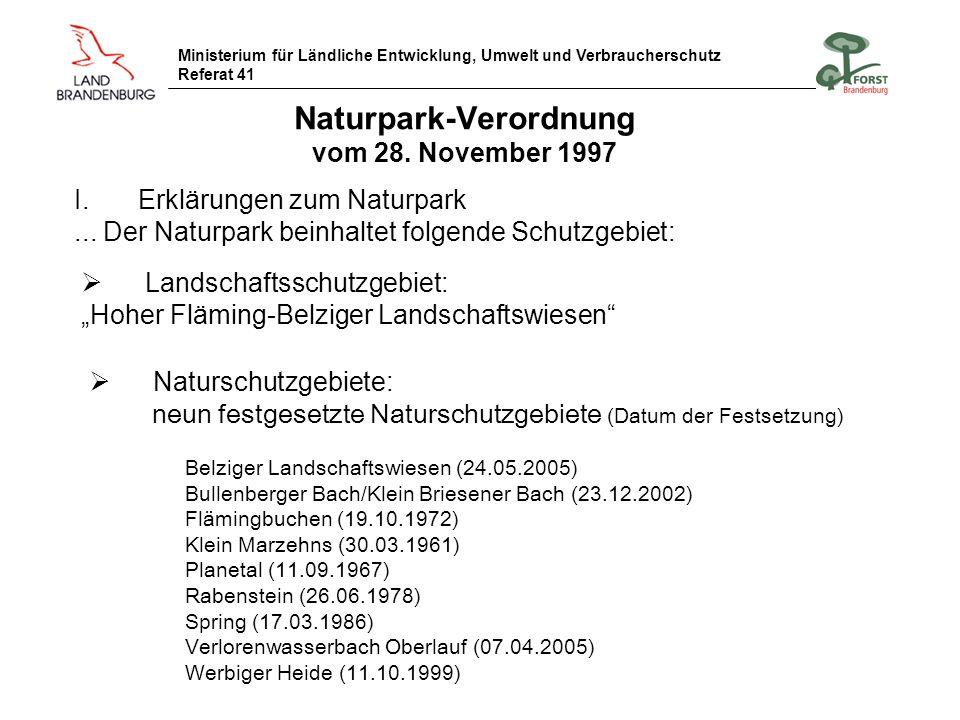 Naturpark-Verordnung vom 28. November 1997