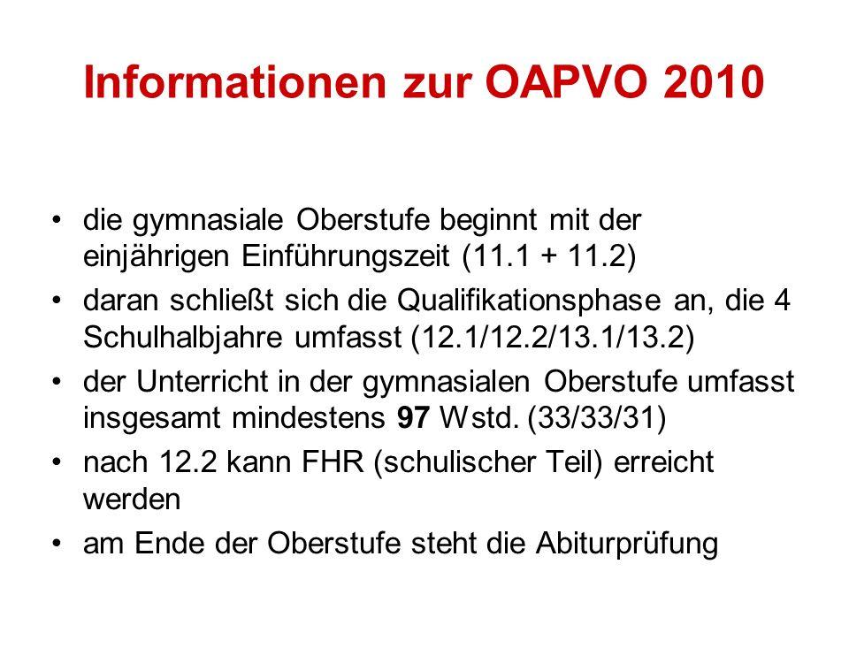 Informationen zur OAPVO 2010