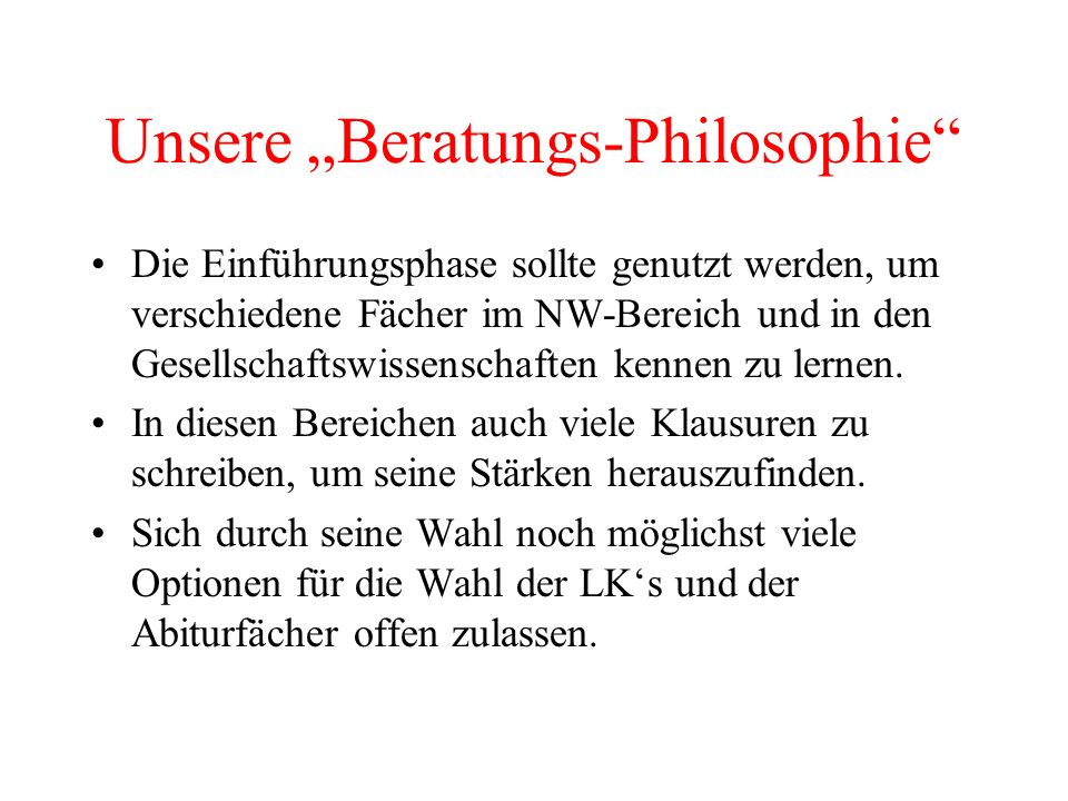 """Unsere """"Beratungs-Philosophie"""