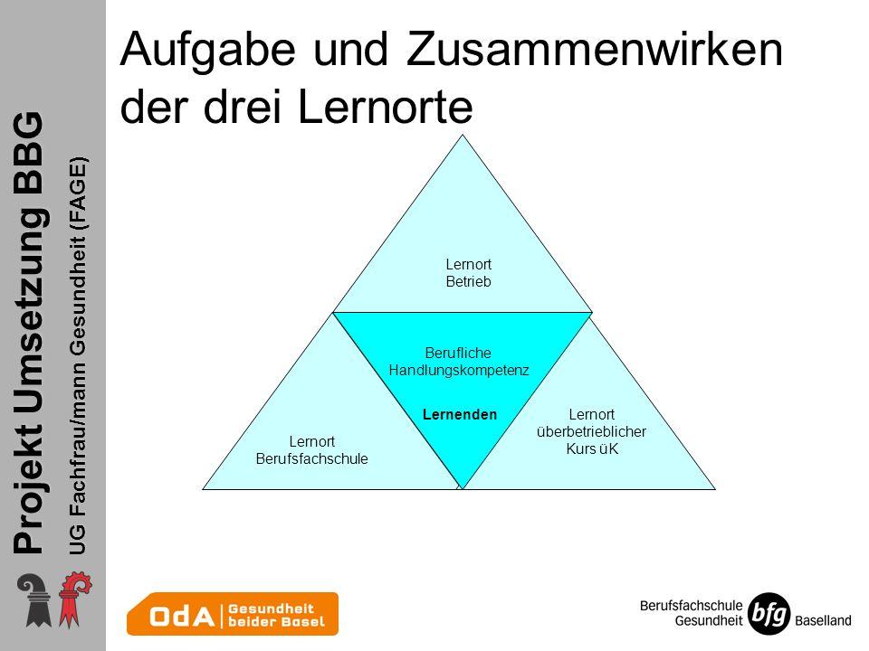 Aufgabe und Zusammenwirken der drei Lernorte