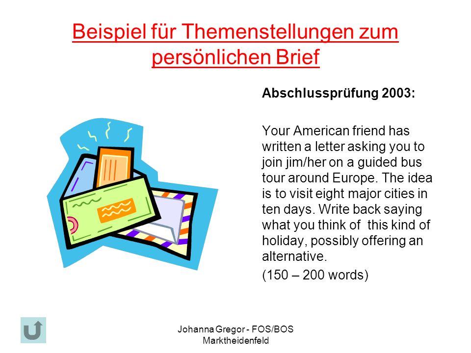Beispiel für Themenstellungen zum persönlichen Brief