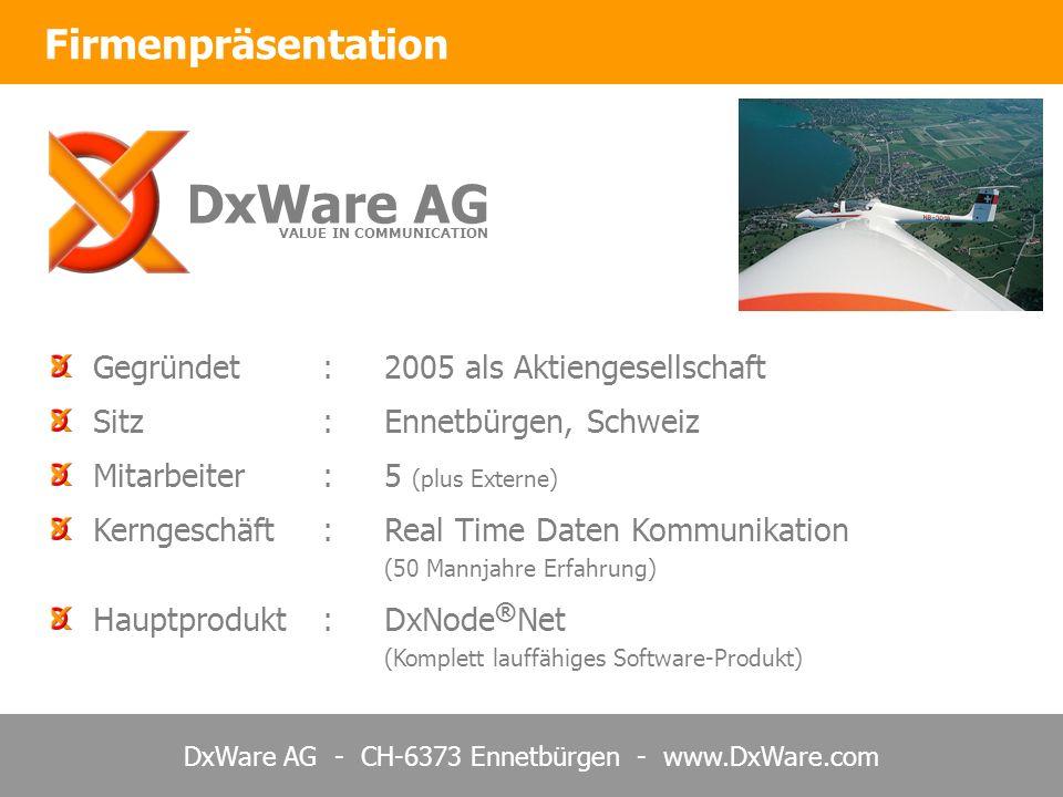 DxWare AG Firmenpräsentation Gegründet : 2005 als Aktiengesellschaft