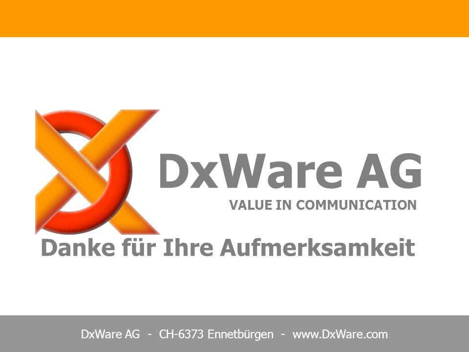 DxWare AG VALUE IN COMMUNICATION Danke für Ihre Aufmerksamkeit