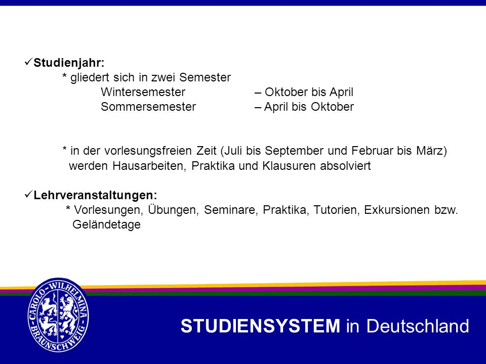 STUDIENSYSTEM in Deutschland