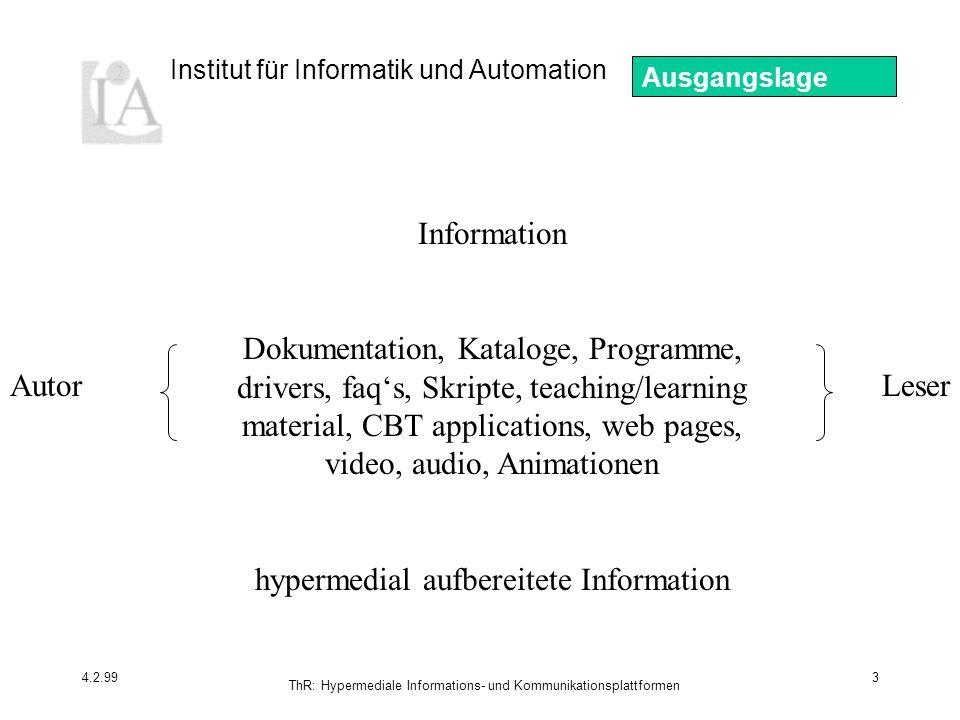 hypermedial aufbereitete Information Autor Leser
