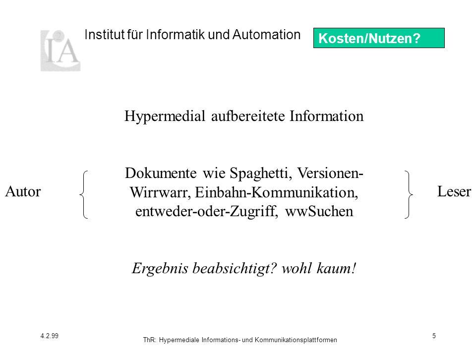 Hypermedial aufbereitete Information