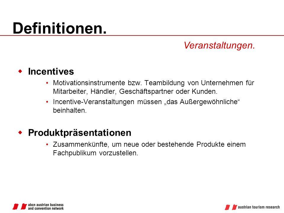 Definitionen. Veranstaltungen. Incentives Produktpräsentationen