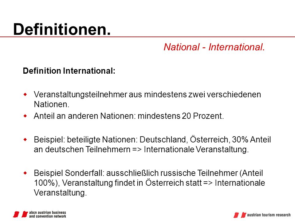 Definitionen. National - International. Definition International: